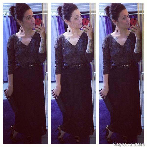 look saia longa preta plissada e tricot metalizado (2)