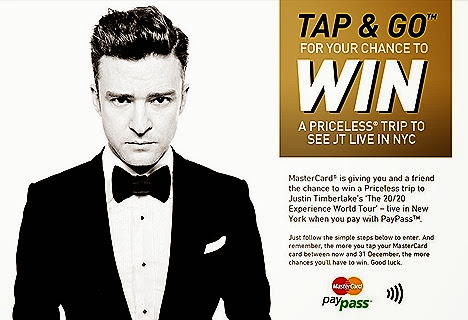 JUSTIN TIMBERLAKE MASTERCARD PAYPASS CARD PRICELESS EXPERIENCE NEW YORK  Madison Square Garden WORLD TOUR CONCERT Luxury hotel stay top restaurants dinner private tour PRIZE