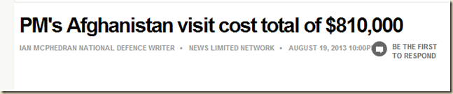 PM's Afghanistan visit cost total of $810,000 - Latests news and videos on the Australian Federal Election 2013 - Herald Sun