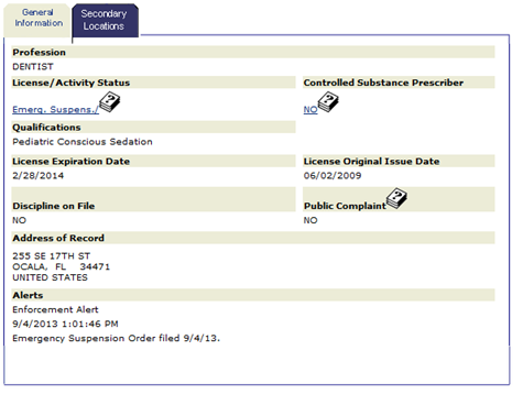 Dr. Michael Addair Tarver Florida Dental License-pic_thumb[2]