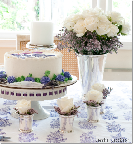 lavender white birthday party table setting