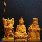 檀香木小佛像神像-超迷你五公分精緻細膩雕刻-中壇元帥超威戰甲三太子