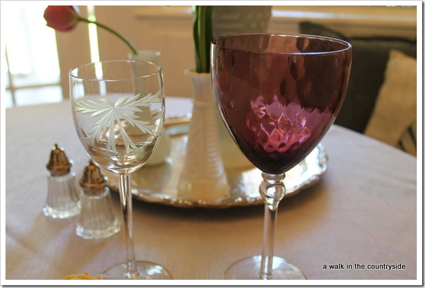 etched and amethyst stemware