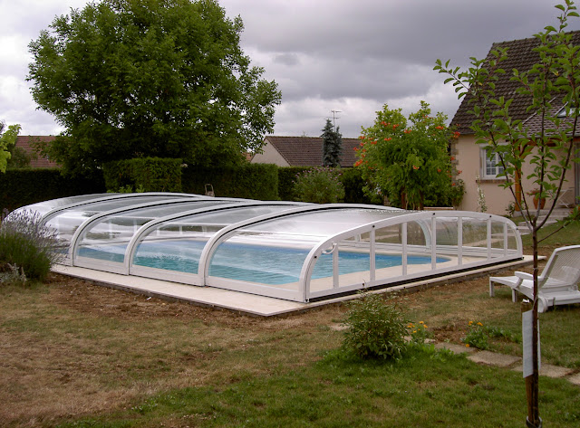Abris plat 4 messages for Piscine autoportante 1m20