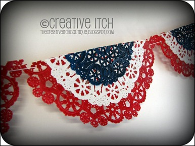 4th of July Doily Banner; close up; Edited