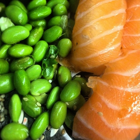 #193 - edamame beans and salmon nigiri