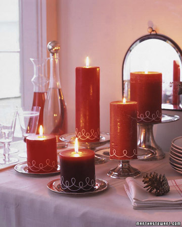 Decorate inexpensive pillar candles with twine for gifts or a creative table display.