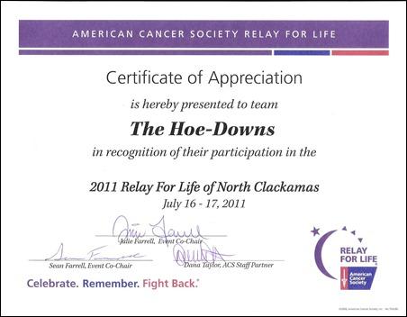 Hoe-Downs certificate 001