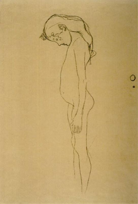 gustav-klimt-nudo-di-ragazza-con-la-testa-piegata-verso-sinistra-1902-gessetto-nero-collezione-privata