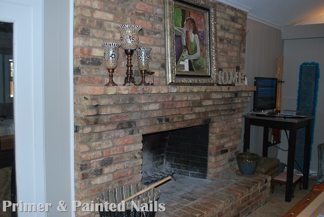 Fireplace Before 2 - Primer & Painted Nails