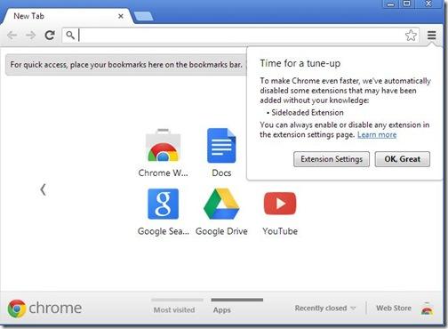 Google Chrome 25 disabilita in automatico le estensioni installate di nascosto in precedenza