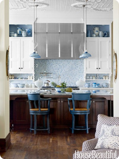 white cabinets blue accents kitchen