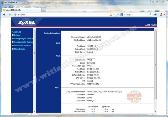 2 - tela inicial com os dados - Modem ADSL ZyXEL P-660R-T1 v3s, configurar e rotear para conectar automaticamente na Oi – Velox.