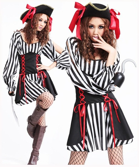 Black-and-white-striped-waist-dress-cosplay-Halloween-font-b-Somali-b-font-font-b-pirates