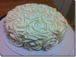 White Rose Cake with vertical layers