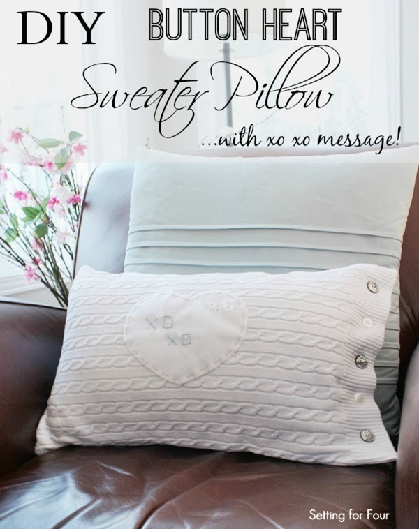 Easy DIY Button Heart Sweater Pillow Tutorial #diy #decor