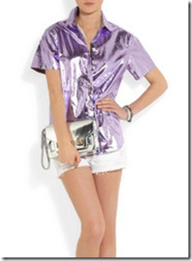 Burberry Prorsum Metallic Coated Cotton Shirt