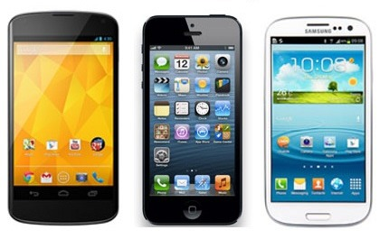 LG Nexus 4 vs iPhone 5 vs SGS3