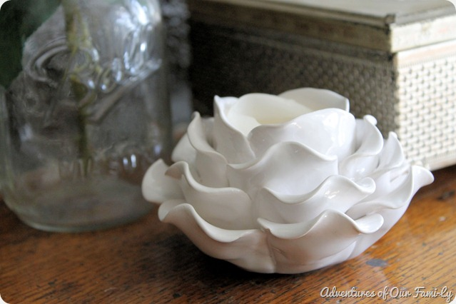 spring mantle porcelain rose