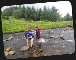 Vicky & Jane crossing the stream