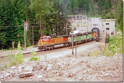 259160543 BNSF C44-9W #4917 emerging from the Cascade Tunnel at Berne, Washington in 2002