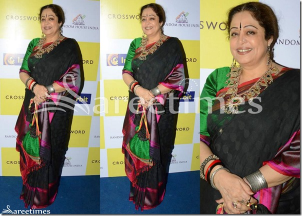 Kirron_Kher_Black_Silk_Saree