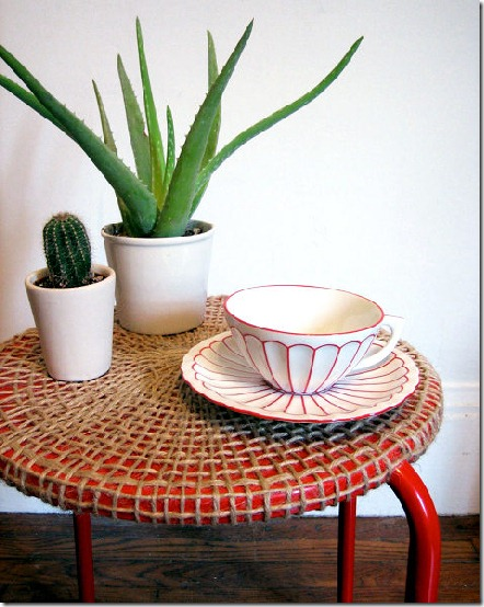 Ikea table with woven jute top