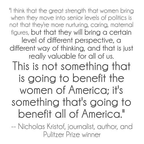kristof quote - women in politics