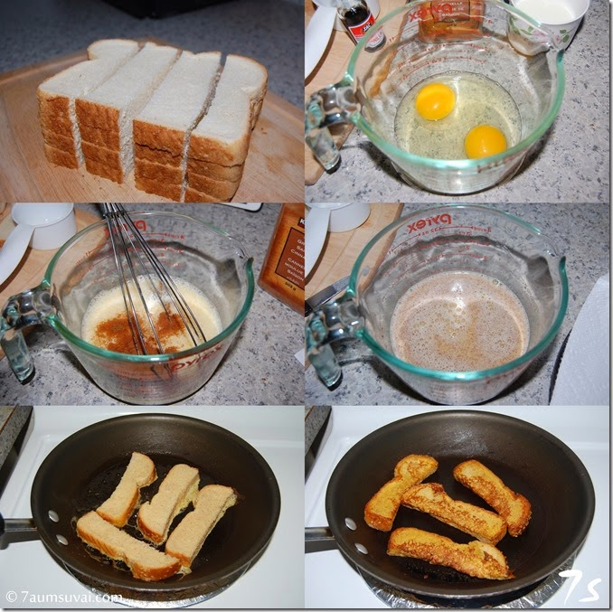Cinnamon french toast sticks process