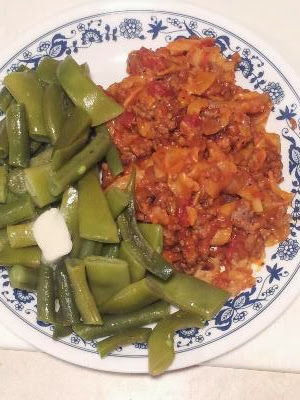 Goulash and green beans