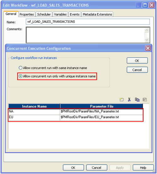 Informatica PowerCenter Concurrent Workflow parame