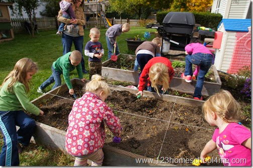 Homeschool archeologists dig for arrowheads as part of hands on Native American Unit for Kids