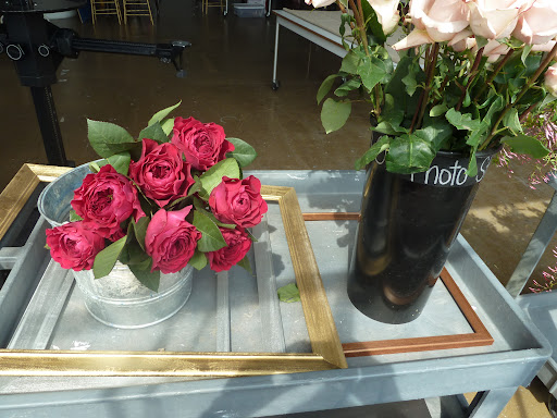 Some roses and the frames we used around our escort card display.