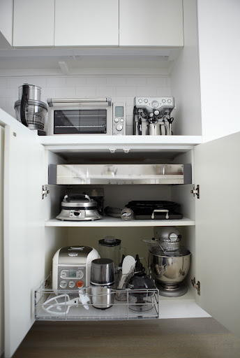 I use this wire pullout in my kitchen to store small appliances for everyday use.