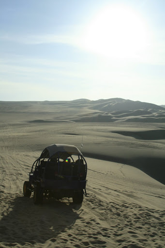 Our buggy silhouetted against the lowering sun.
