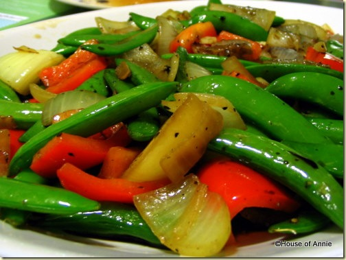 stir fried peas peppers and onions