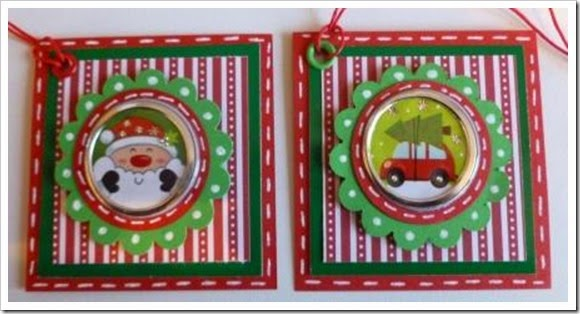 Modern Bright Red White and Green Christmas Tags, faux Stitching. foil christmas stickers