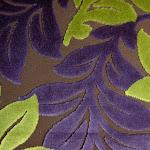 Tkanina obiciowa, trudnopalna. Pluszowa. Motyw roślinny - liście. Zielona, fioletowa.