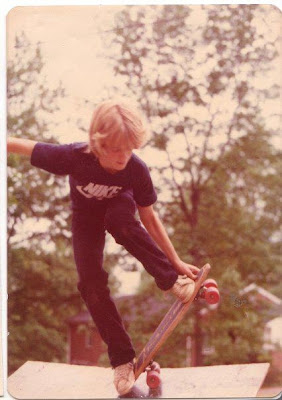 A young Mike Foster doing a rail grab off a home made ramp!