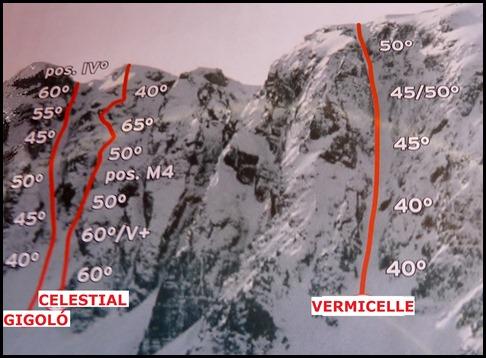 Corredor Gigolo 240m 65º IV (Cambre d'Aze 2750m)