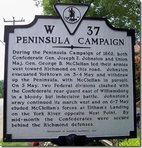 Peninsula Campaign marker W-37 outside of Williamsburg, VA