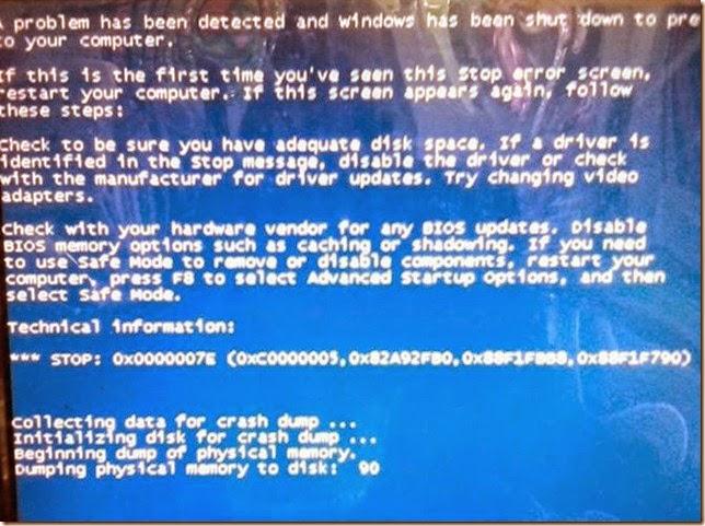 contoh tampilan blue screen