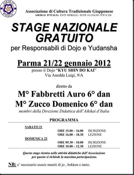 Microsoft Word - Stage Naz. Gratuito Resp. di dojo e Yudansha Parma 2012.doc