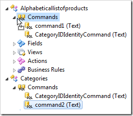 Drop command2 on commands of Alphabeticallistofproducts.