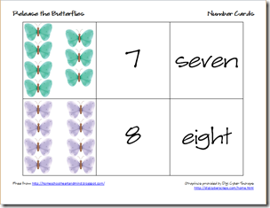 butterflies number cards 4