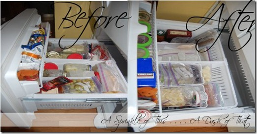 Bottom Freezer Organization Before and After {A Sprinkle of This . . . . A Dash of That}