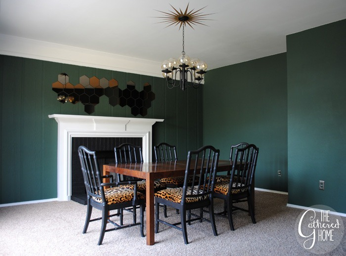 dining room updates black and leopard velvet chairs