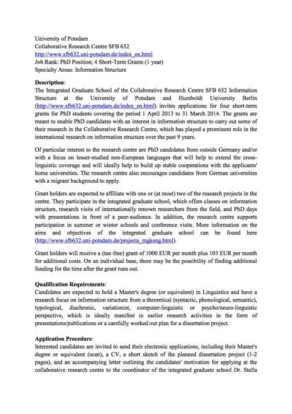 Call SFB scholarships 2013