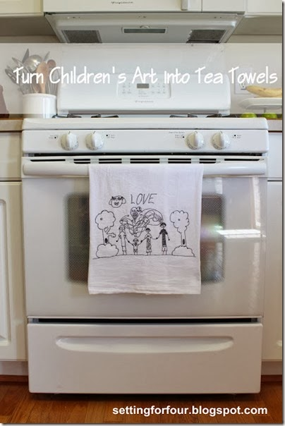 Turn Kid's Art into Tea Towels DIY