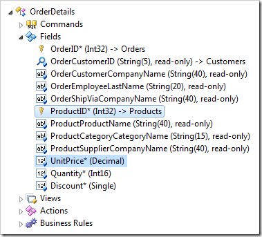 A data controller field selected in Project Explorer of Code On Time web application generator